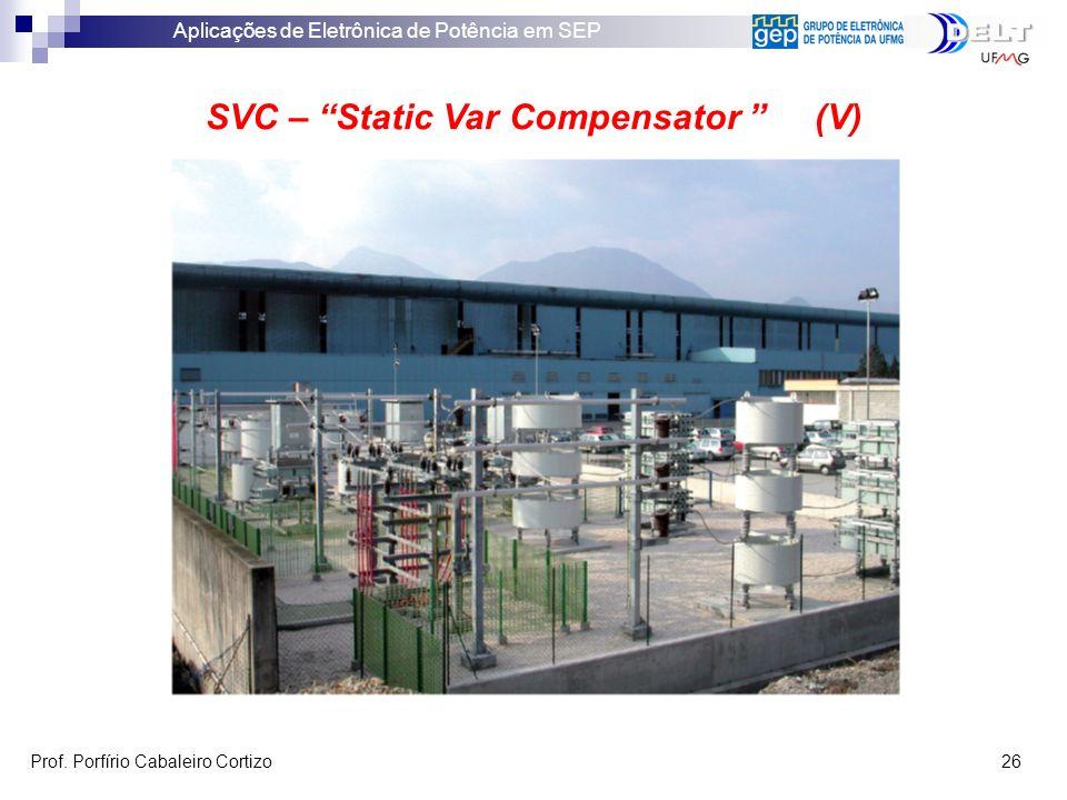 Aplicações de Eletrônica de Potência em SEP Prof. Porfírio Cabaleiro Cortizo 26 SVC – Static Var Compensator (V)