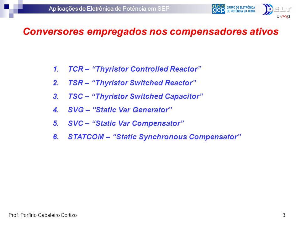 Aplicações de Eletrônica de Potência em SEP Prof. Porfírio Cabaleiro Cortizo 3 Conversores empregados nos compensadores ativos 1.TCR – Thyristor Contr