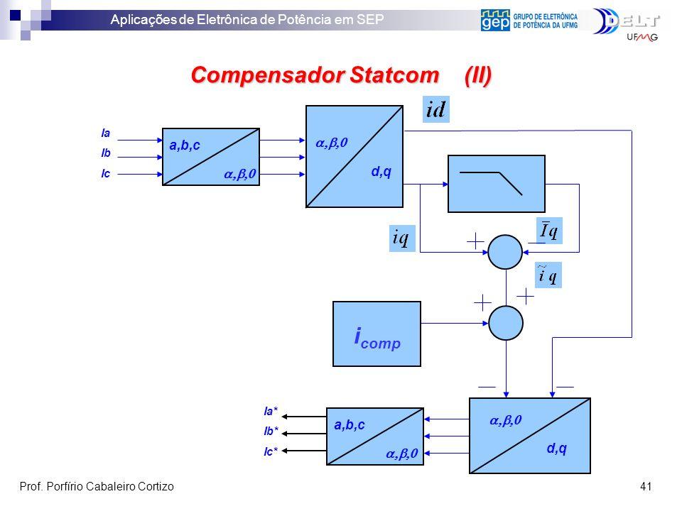 Aplicações de Eletrônica de Potência em SEP Prof. Porfírio Cabaleiro Cortizo 41 Ia Ib Ic a,b,c d,q a,b,c Ia* Ib* Ic* d,q Compensador Statcom (II) i co