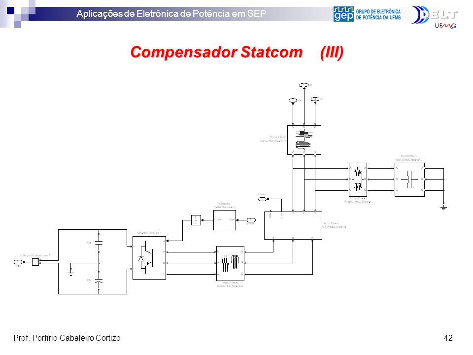 Aplicações de Eletrônica de Potência em SEP Prof. Porfírio Cabaleiro Cortizo 42 Compensador Statcom (III)