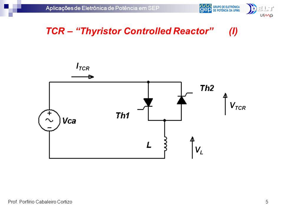 Aplicações de Eletrônica de Potência em SEP Prof. Porfírio Cabaleiro Cortizo 5 TCR – Thyristor Controlled Reactor (I) V TCR VLVL I TCR