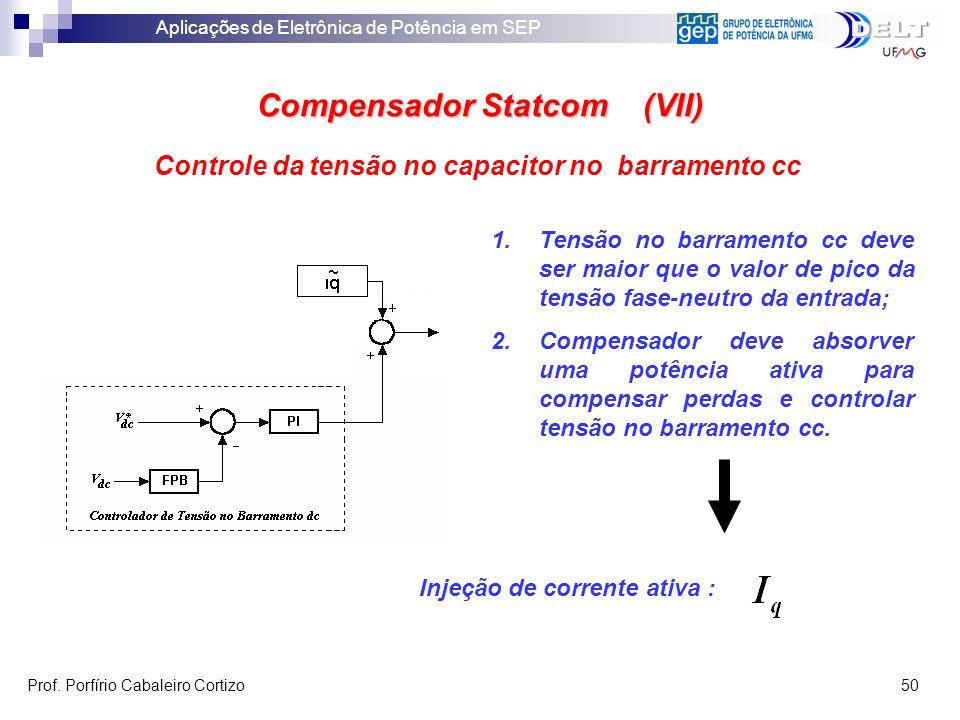 Aplicações de Eletrônica de Potência em SEP Prof. Porfírio Cabaleiro Cortizo 50 Compensador Statcom (VII) Controle da tensão no capacitor no barrament