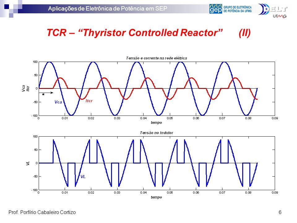 Aplicações de Eletrônica de Potência em SEP Prof. Porfírio Cabaleiro Cortizo 6 TCR – Thyristor Controlled Reactor (II)