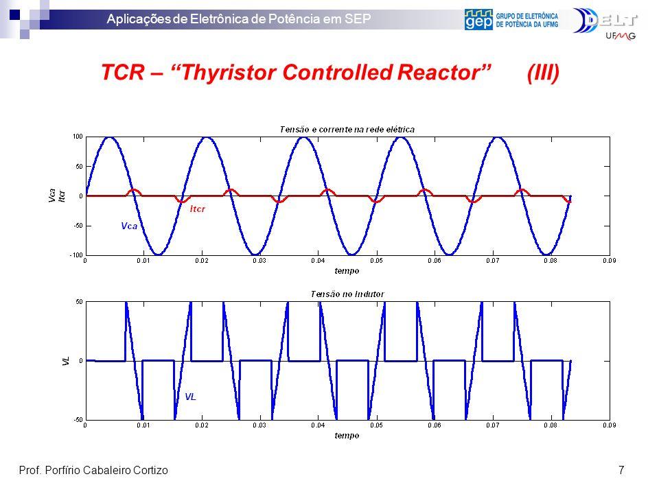 Aplicações de Eletrônica de Potência em SEP Prof. Porfírio Cabaleiro Cortizo 7 TCR – Thyristor Controlled Reactor (III)