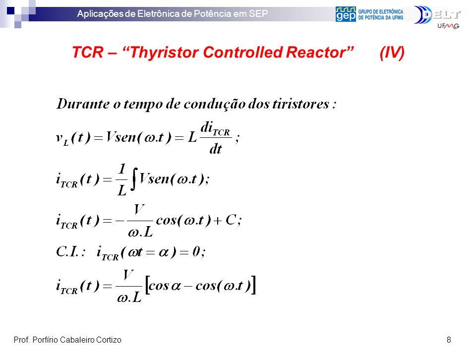Aplicações de Eletrônica de Potência em SEP Prof. Porfírio Cabaleiro Cortizo 8 TCR – Thyristor Controlled Reactor (IV)
