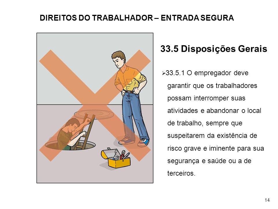 DIREITOS DO TRABALHADOR – ENTRADA SEGURA 33.5.1 O empregador deve garantir que os trabalhadores possam interromper suas atividades e abandonar o local