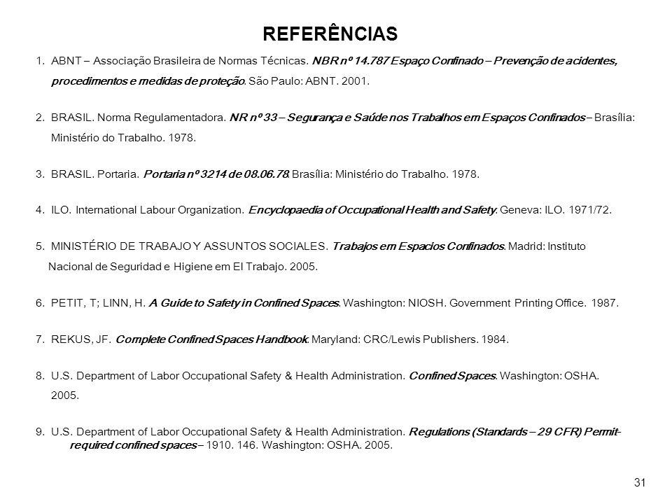 REFERÊNCIAS 1. ABNT – Associação Brasileira de Normas Técnicas. NBR nº 14.787 Espaço Confinado – Prevenção de acidentes, procedimentos e medidas de pr