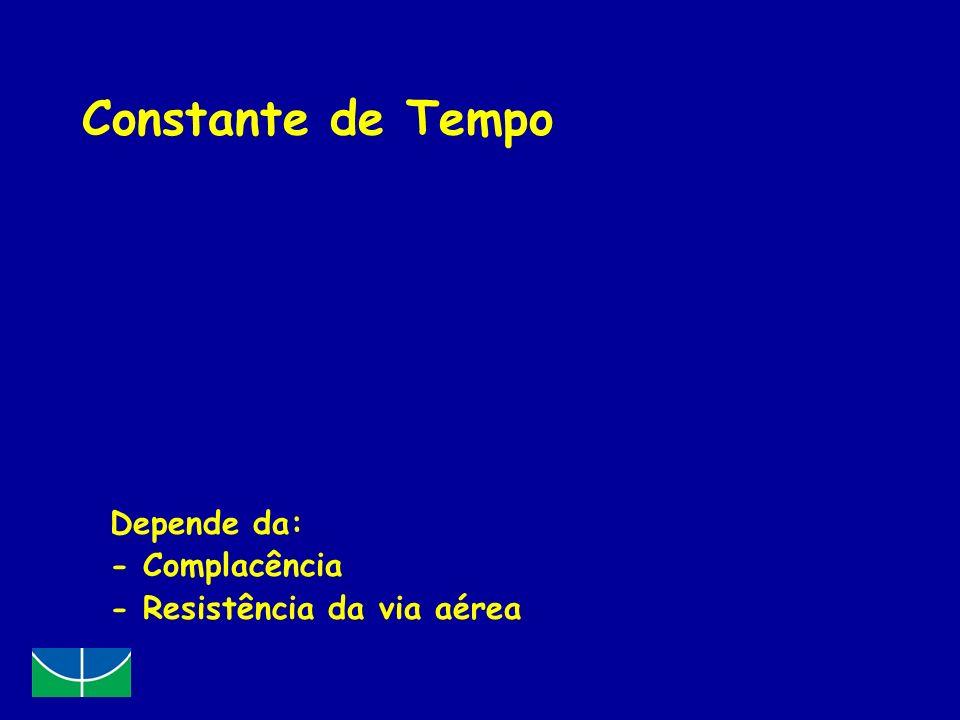 Constante de Tempo Definição: tempo necessário para a pressão alveolar atingir 63% da pressão proximal Exemplo: PIP = 20 cmH 2 O 1 constante de tempo