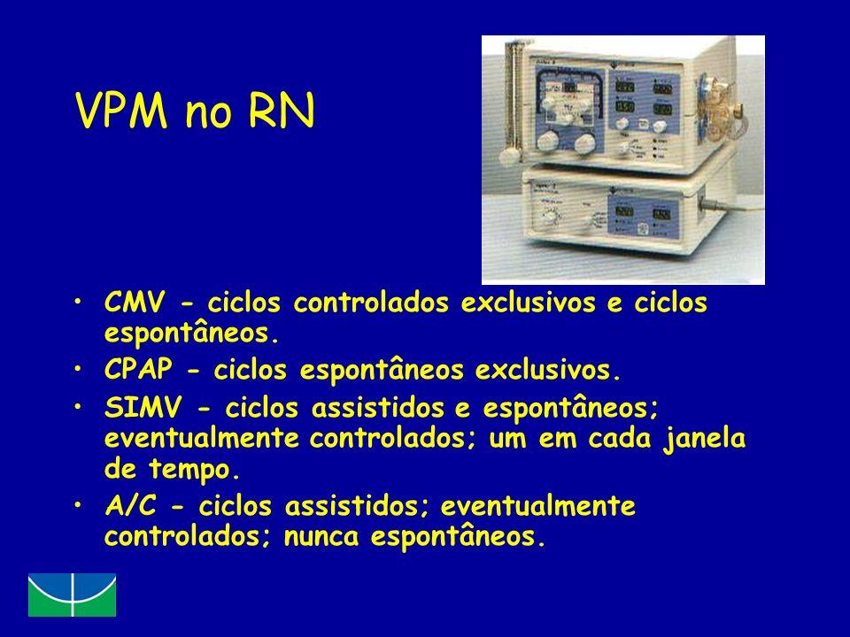 VPM no RN CMV - ciclos controlados exclusivos e ciclos espontâneos. CPAP - ciclos espontâneos exclusivos. SIMV - ciclos assistidos e espontâneos; even