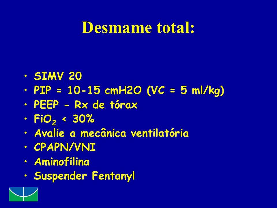 Desmame total: SIMV 20 PIP = 10-15 cmH2O (VC = 5 ml/kg) PEEP - Rx de tórax FiO 2 < 30% Avalie a mecânica ventilatória CPAPN/VNI Aminofilina Suspender