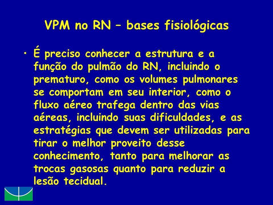 VPM no RN – bases fisiológicas É preciso conhecer a estrutura e a função do pulmão do RN, incluindo o prematuro, como os volumes pulmonares se comport
