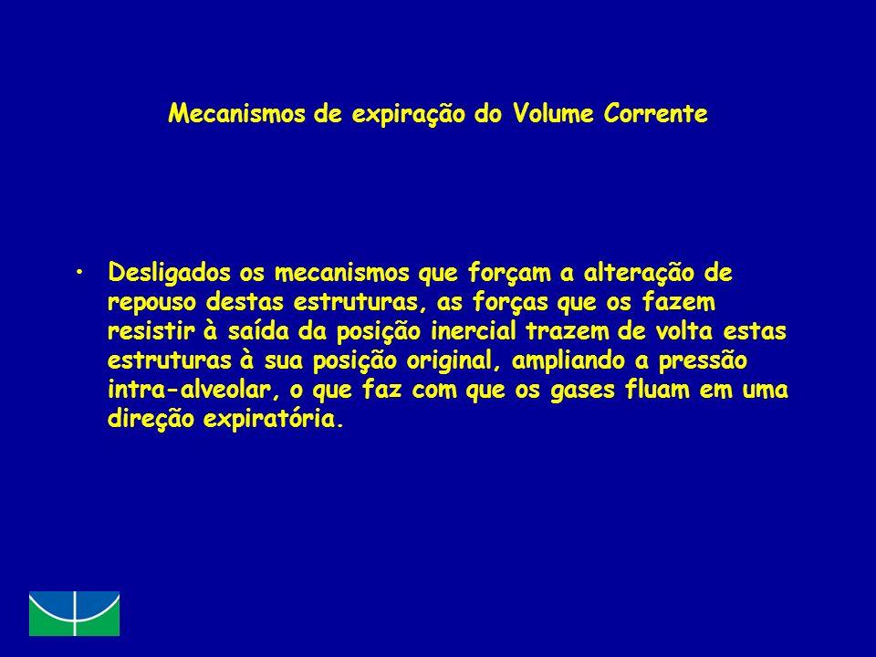 Mecanismos de expiração do Volume Corrente Desligados os mecanismos que forçam a alteração de repouso destas estruturas, as forças que os fazem resist