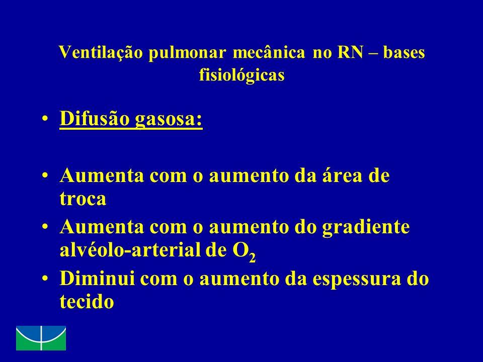 VPM no RN Objetivos PSat 87 a 95 % PaO 2 = 50 a 70 mmHg PaCO 2 = 40 a 60 mmHg - hipercapnia permissiva; Volume Corrente = 5 ml/Kg
