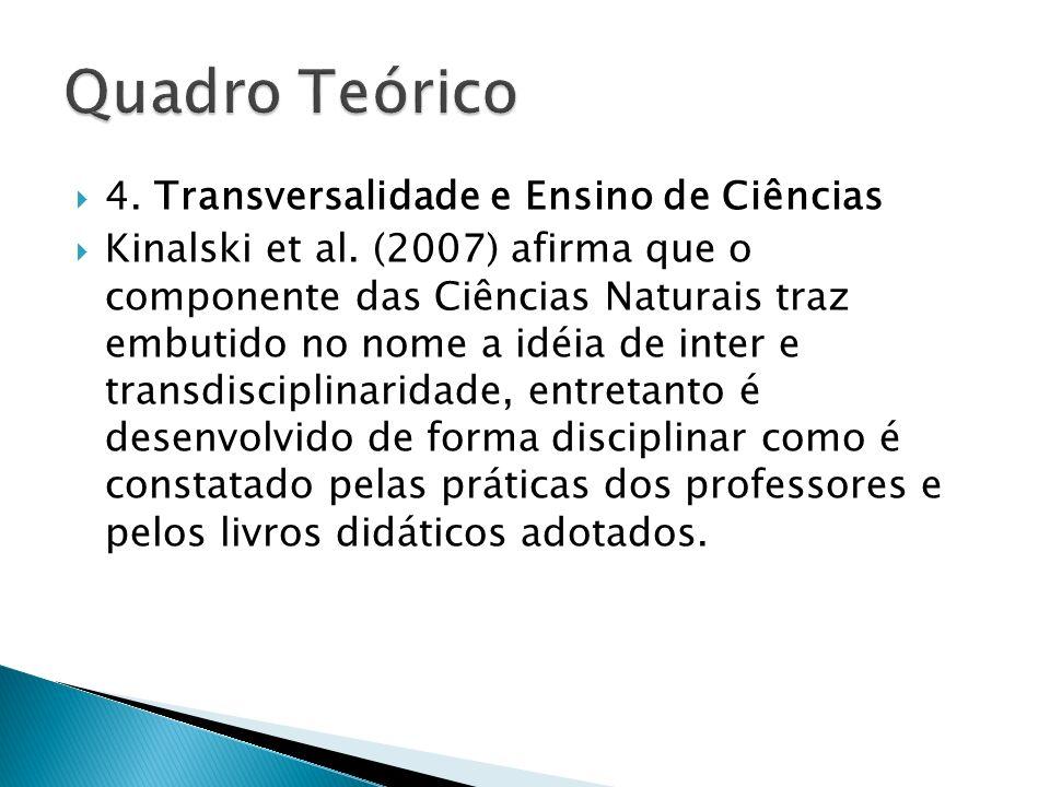4. Transversalidade e Ensino de Ciências Kinalski et al. (2007) afirma que o componente das Ciências Naturais traz embutido no nome a idéia de inter e