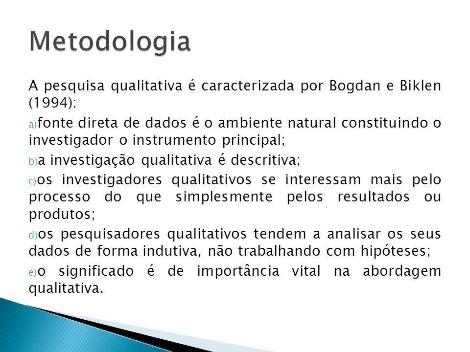 A pesquisa qualitativa é caracterizada por Bogdan e Biklen (1994): a) fonte direta de dados é o ambiente natural constituindo o investigador o instrum