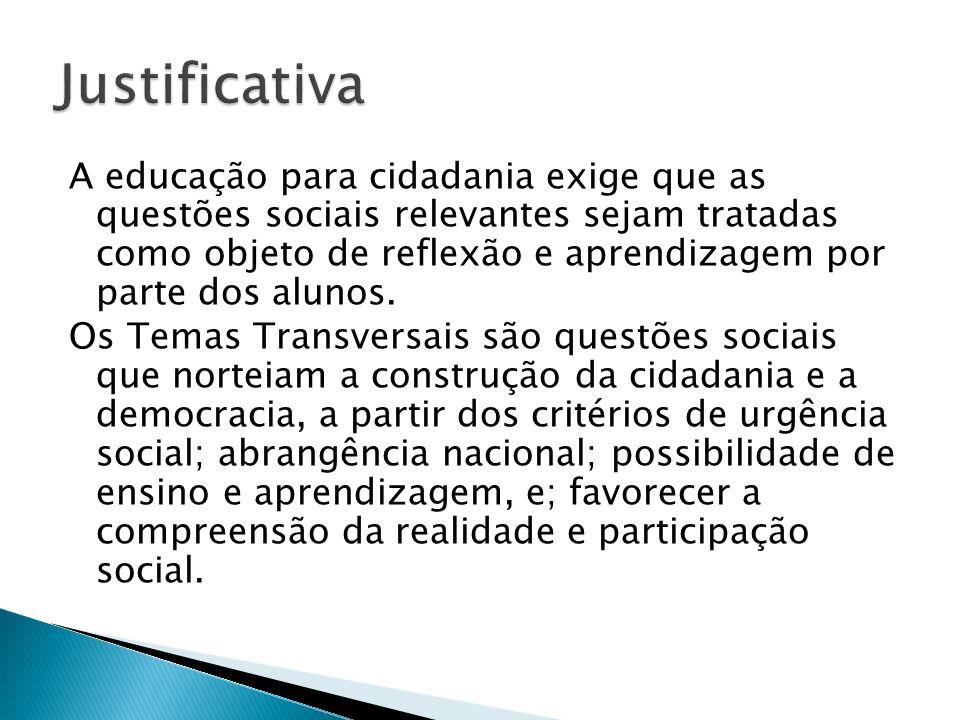 A educação para cidadania exige que as questões sociais relevantes sejam tratadas como objeto de reflexão e aprendizagem por parte dos alunos. Os Tema