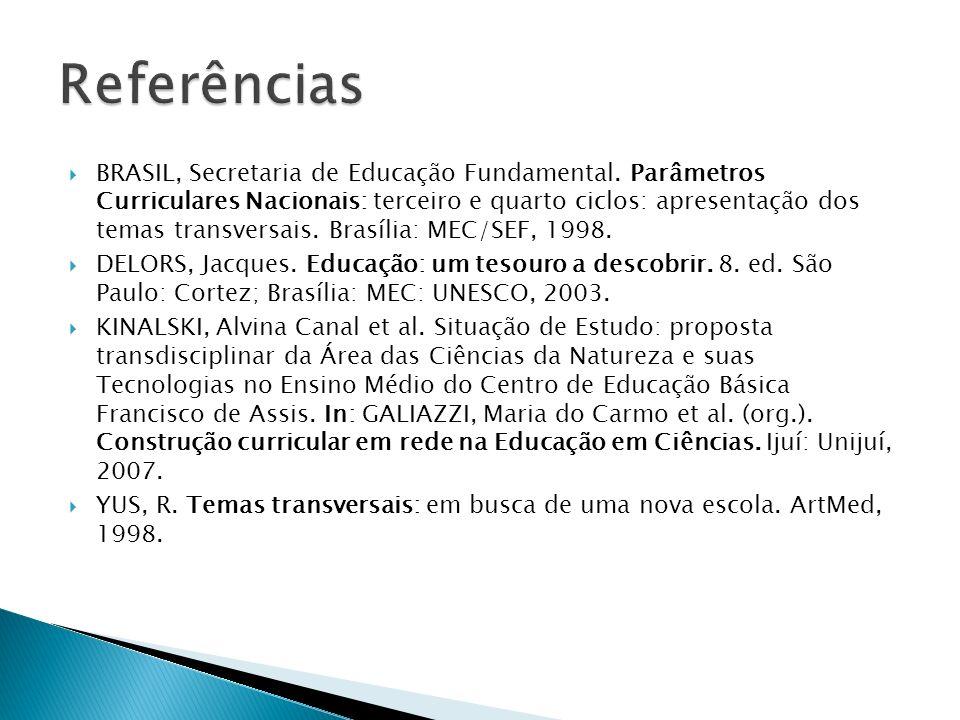 BRASIL, Secretaria de Educação Fundamental. Parâmetros Curriculares Nacionais: terceiro e quarto ciclos: apresentação dos temas transversais. Brasília