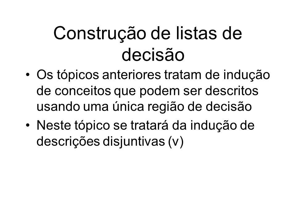 Construção de listas de decisão Os tópicos anteriores tratam de indução de conceitos que podem ser descritos usando uma única região de decisão Neste tópico se tratará da indução de descrições disjuntivas (v)