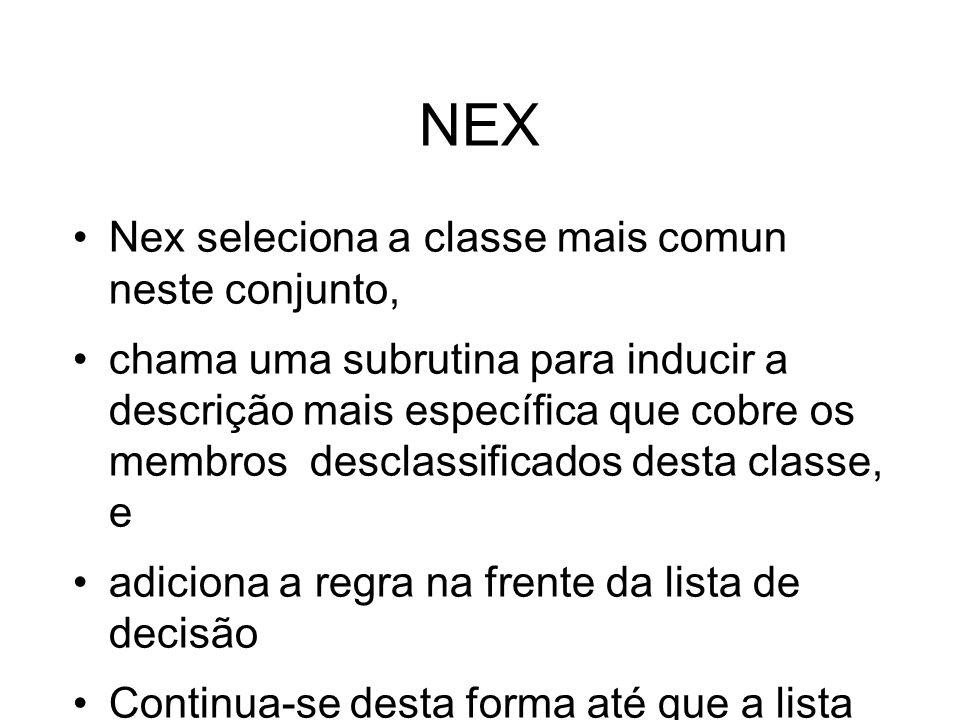 NEX Nex seleciona a classe mais comun neste conjunto, chama uma subrutina para inducir a descrição mais específica que cobre os membros desclassificados desta classe, e adiciona a regra na frente da lista de decisão Continua-se desta forma até que a lista classifique todas as instâncias de treinamento.