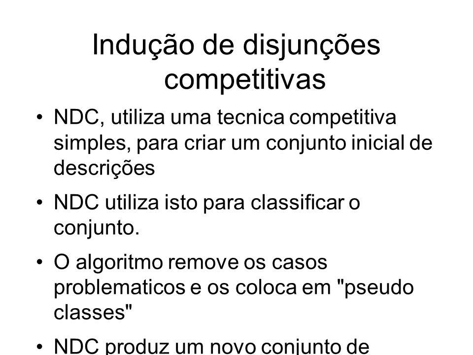 Indução de disjunções competitivas NDC, utiliza uma tecnica competitiva simples, para criar um conjunto inicial de descrições NDC utiliza isto para classificar o conjunto.
