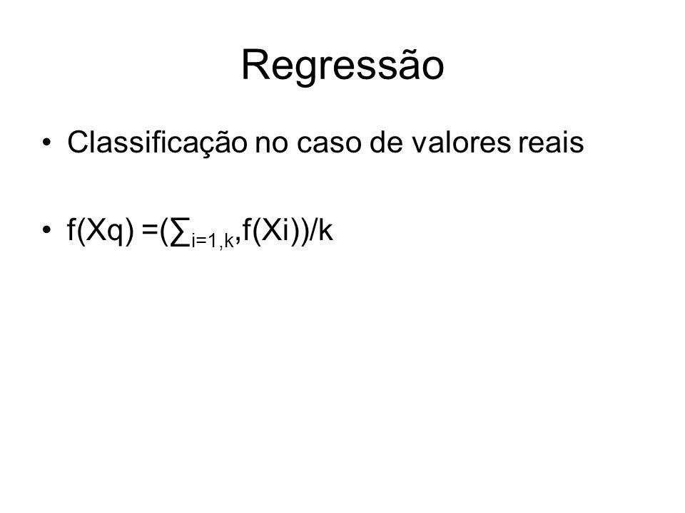 Regressão Classificação no caso de valores reais f(Xq) =( i=1,k,f(Xi))/k