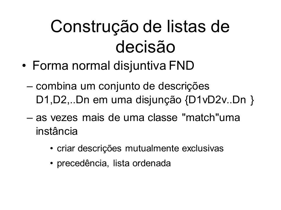 Forma normal disjuntiva FND –combina um conjunto de descrições D1,D2,..Dn em uma disjunção {D1vD2v..Dn } –as vezes mais de uma classe match uma instância criar descrições mutualmente exclusivas precedência, lista ordenada