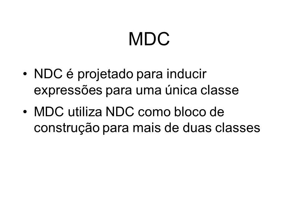 MDC NDC é projetado para inducir expressões para uma única classe MDC utiliza NDC como bloco de construção para mais de duas classes