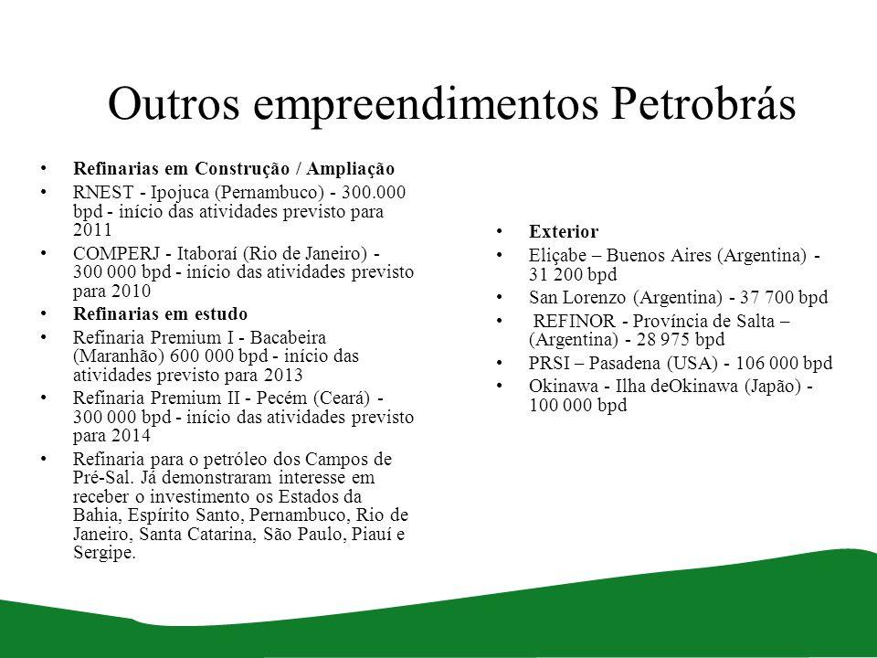 Outros empreendimentos Petrobrás Refinarias em Construção / Ampliação RNEST - Ipojuca (Pernambuco) - 300.000 bpd - início das atividades previsto para