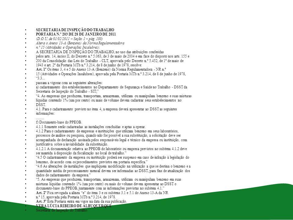 SECRETARIA DE INSPEÇÃO DO TRABALHO PORTARIA N.º 203 DE 28 DE JANEIRO DE 2011 (D.O.U. de 01/02/2011 – Seção 1 – pág. 180) Altera o Anexo 13-A (Benzeno)
