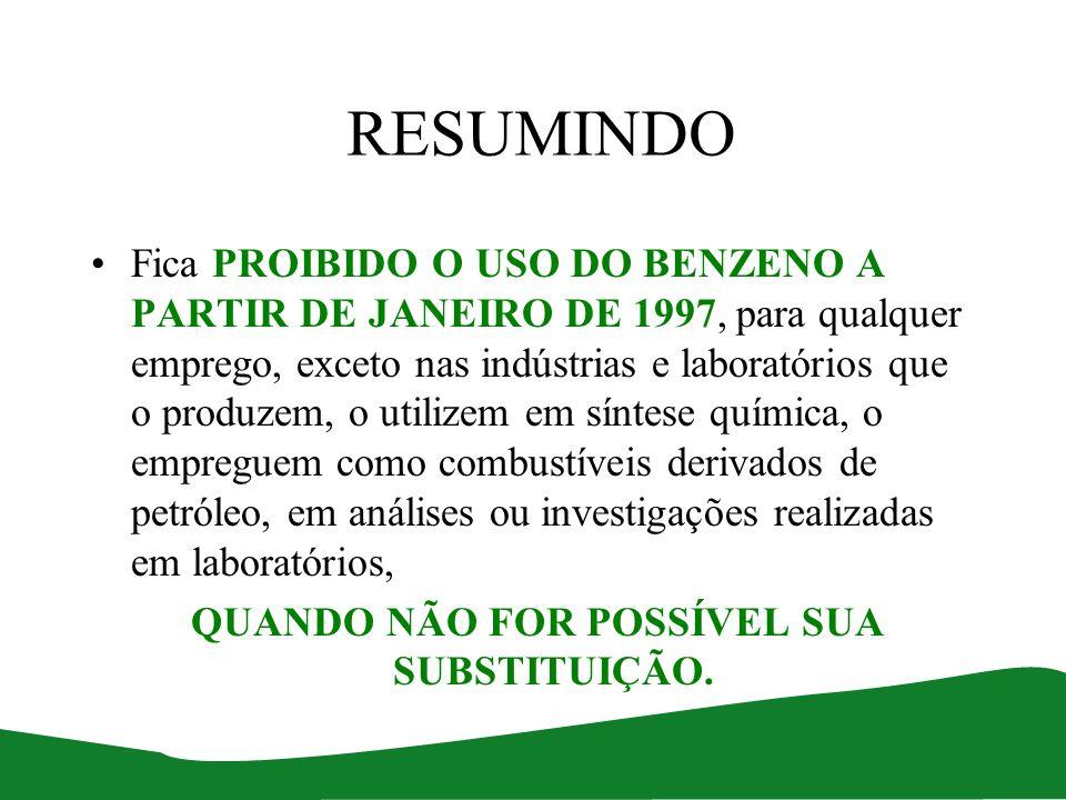 RESUMINDO Fica PROIBIDO O USO DO BENZENO A PARTIR DE JANEIRO DE 1997, para qualquer emprego, exceto nas indústrias e laboratórios que o produzem, o ut