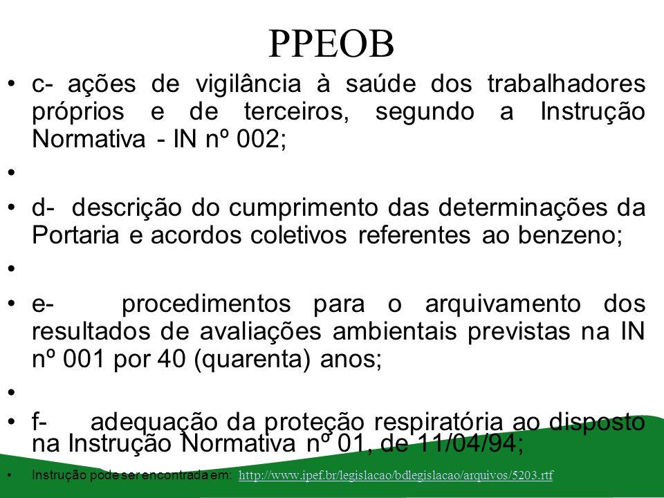 PPEOB c- ações de vigilância à saúde dos trabalhadores próprios e de terceiros, segundo a Instrução Normativa - IN nº 002; d- descrição do cumprimento