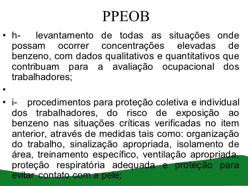PPEOB h- levantamento de todas as situações onde possam ocorrer concentrações elevadas de benzeno, com dados qualitativos e quantitativos que contribu