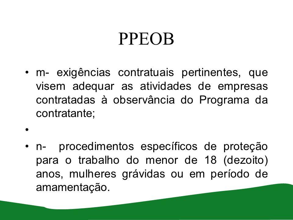 PPEOB m- exigências contratuais pertinentes, que visem adequar as atividades de empresas contratadas à observância do Programa da contratante; n- proc