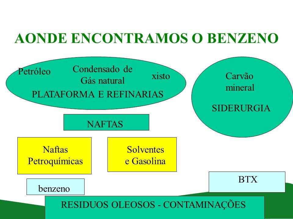 AONDE ENCONTRAMOS O BENZENO Petróleo Condensado de Gás natural xistoCarvão mineral PLATAFORMA E REFINARIAS SIDERURGIA Naftas Petroquímicas Solventes e