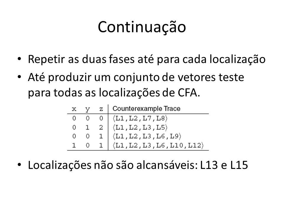 Continuação Repetir as duas fases até para cada localização Até produzir um conjunto de vetores teste para todas as localizações de CFA.