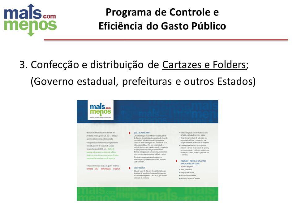 3. Confecção e distribuição de Cartazes e Folders; (Governo estadual, prefeituras e outros Estados) Programa de Controle e Eficiência do Gasto Público