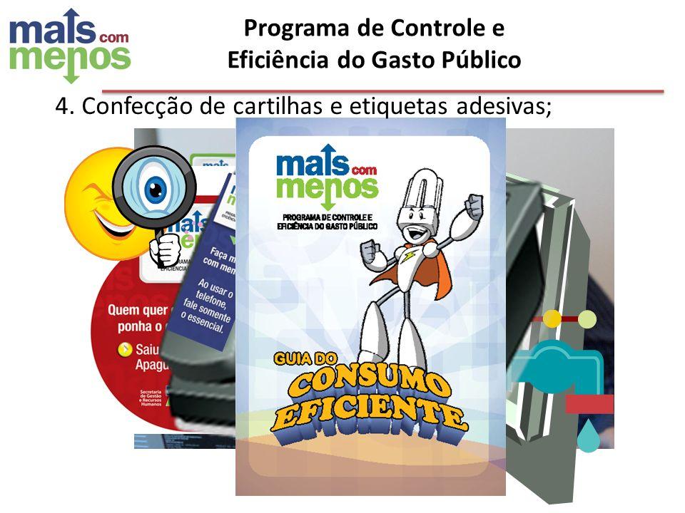Programa de Controle e Eficiência do Gasto Público 4. Confecção de cartilhas e etiquetas adesivas;