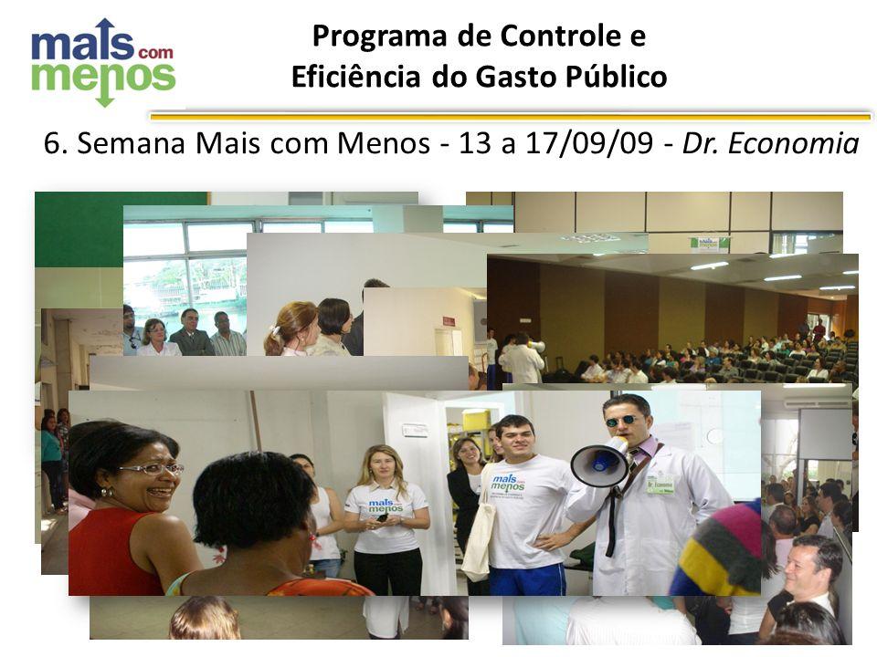 Programa de Controle e Eficiência do Gasto Público Jan/10 6. Semana Mais com Menos - 13 a 17/09/09 - Dr. Economia