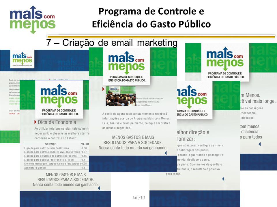Programa de Controle e Eficiência do Gasto Público Jan/10 7 – Criação de email marketing