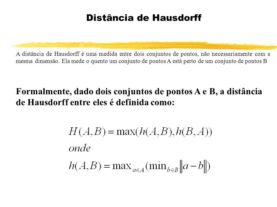 A distância de Hausdorff é uma medida entre dois conjuntos de pontos, não necessariamente com a mesma dimensão. Ela mede o quento um conjunto de ponto