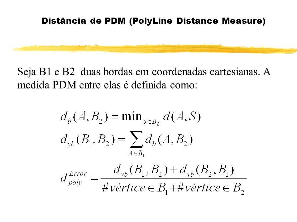 Seja B1 e B2 duas bordas em coordenadas cartesianas. A medida PDM entre elas é definida como: Distância de PDM (PolyLine Distance Measure)