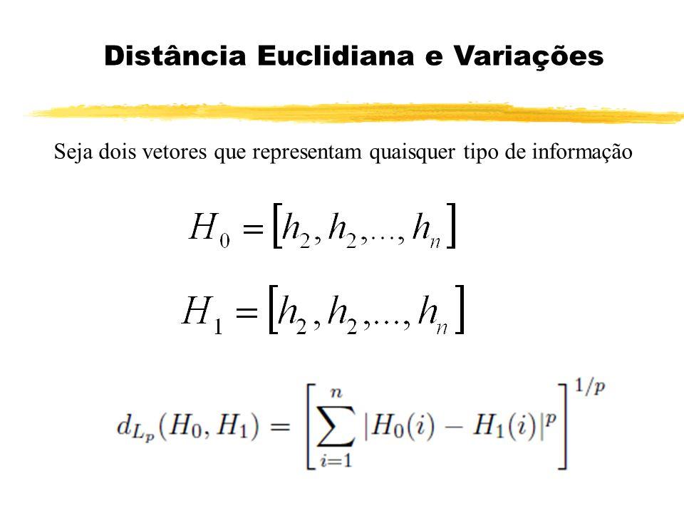 Distância Euclidiana e Variações Seja dois vetores que representam quaisquer tipo de informação