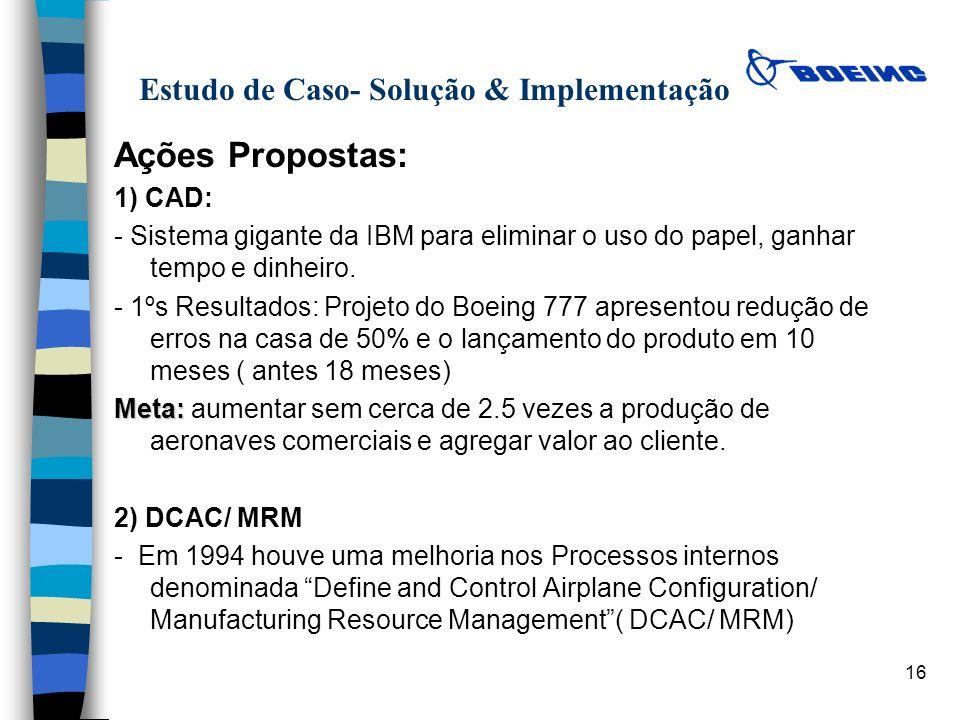 16 Estudo de Caso- Solução & Implementação Ações Propostas: 1) CAD: - Sistema gigante da IBM para eliminar o uso do papel, ganhar tempo e dinheiro. -