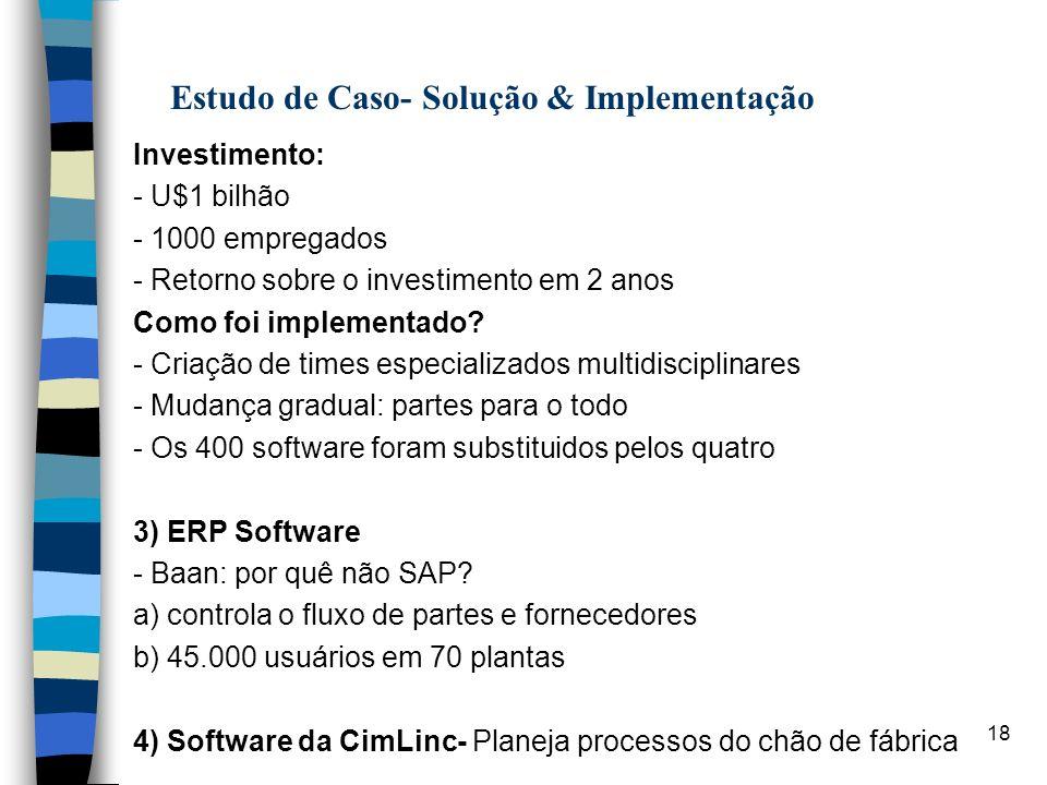 18 A Estudo de Caso- Solução & Implementação Investimento: - U$1 bilhão - 1000 empregados - Retorno sobre o investimento em 2 anos Como foi implementa