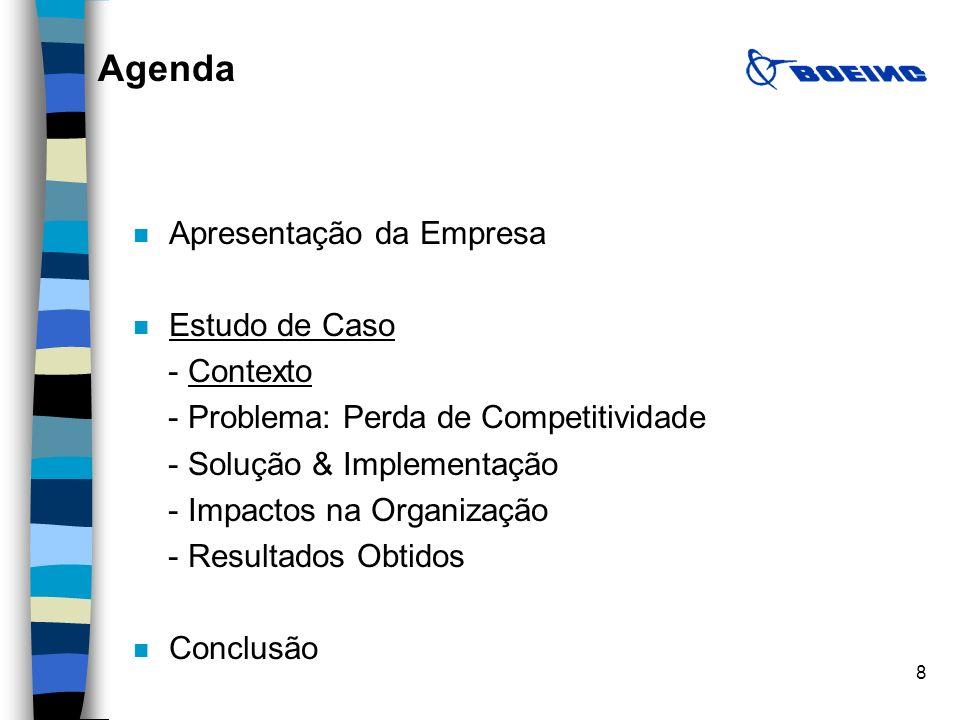 8 A n Apresentação da Empresa n Estudo de Caso - Contexto - Problema: Perda de Competitividade - Solução & Implementação - Impactos na Organização - R