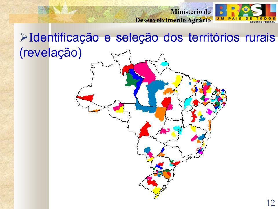 11 Ministério do Desenvolvimento Agrário Atribuições assumidas pela SDT I dentificação e seleção dos territórios rurais (revelação) Apoio no aprimoram