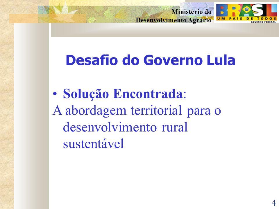 14 Ministério do Desenvolvimento Agrário PLANEJAMENTO (PARTICIPATIVO) ORGANIZA ÇÃ O/ COORDENAÇÃO (DEMOCRÁTICA) CONTROLE SOCIAL (TRANSPARENTE) SENSIBILIZAÇÃO/ MOBILIZAÇÃO DIAGNÓSTICO DA REALIDADE VISÃO DE FUTURO COMPARTILHADA PLANIFICAÇÃO PTDRS CONSOLIDAÇÃO DOS ATORES SOCIAIS PARA A GESTÃO SOCIAL PROCESSO DE MONITORAMENTO E AVALIAÇÃO APRIMORAMENTO DA COMUNICAÇÃO SENSIBILIZAÇÃO/ MOBILIZAÇÃO ARTICULAÇÃO DAS POLÍTICAS PÚBLICAS COORDENAÇÃO DAS AÇÕES NO TERRITÓRIO CONSOLIDAÇÃO DOS ARRANJOS INSTITUCIONAIS P/ IMPLEMENTAR PROJETOS SOCIALIZAÇÃO DAS INFORMAÇÕES GESTÃO SOCIAL DO TERRITÓRIO RURAL