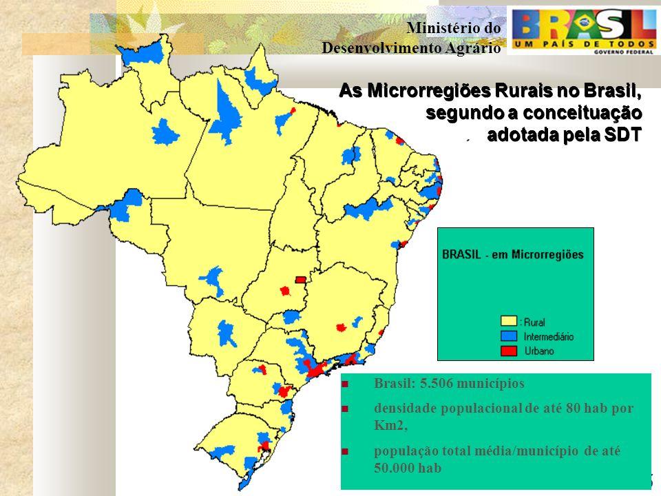 5 Ministério do Desenvolvimento Agrário As Microrregiões Rurais no Brasil, segundo a conceituação adotada pela SDT As Microrregiões Rurais no Brasil, segundo a conceituação adotada pela SDT Brasil: 5.506 municípios densidade populacional de até 80 hab por Km2, população total média/município de até 50.000 hab