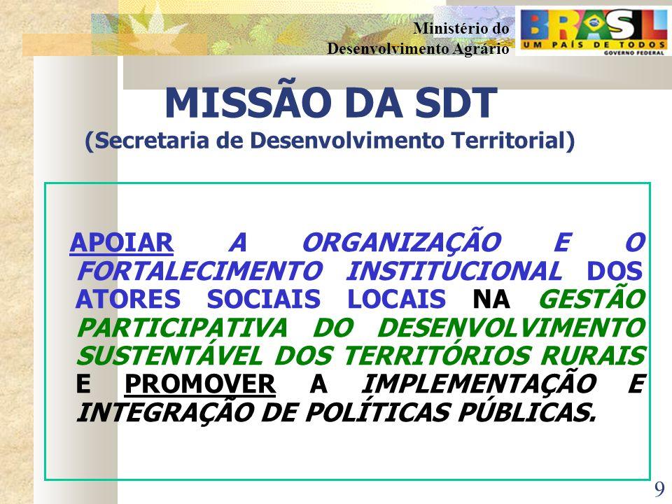 9 Ministério do Desenvolvimento Agrário MISSÃO DA SDT (Secretaria de Desenvolvimento Territorial) APOIAR A ORGANIZAÇÃO E O FORTALECIMENTO INSTITUCIONAL DOS ATORES SOCIAIS LOCAIS NA GESTÃO PARTICIPATIVA DO DESENVOLVIMENTO SUSTENTÁVEL DOS TERRITÓRIOS RURAIS E PROMOVER A IMPLEMENTAÇÃO E INTEGRAÇÃO DE POLÍTICAS PÚBLICAS.