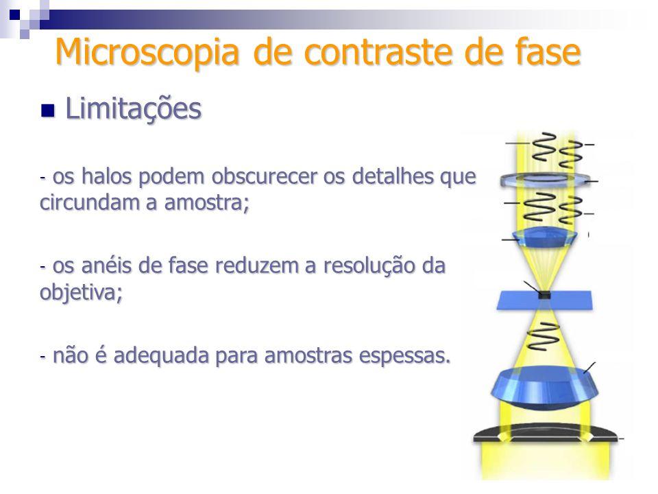 Microscopia de contraste de fase Limitações Limitações - os halos podem obscurecer os detalhes que circundam a amostra; - os anéis de fase reduzem a r
